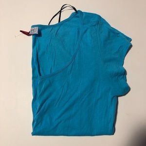 Divided Blue Scoop Neck Tee